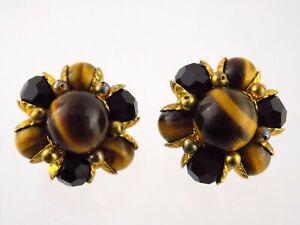 Vintage Goldtone Metal Tiger Eye and Black Beaded Clip on Earrings Unsigned