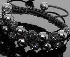 3pcs/lot 10mm Double row new resin pearl black Beads Crystal Shamballa Bracelet