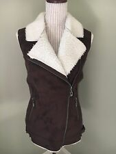 NIB Firth Faux Suede Shearling Jacket Coat Moto Vest Size XS
