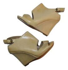 MAX STUDIO Natural Leather Peep Toe Wedge sz 8 Women