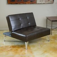 Modern Design Brown Leather Convertible Chair w/ Tufted Accent