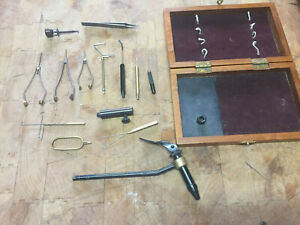 Fly Tying Tool Kit In Wooden Box Cabela's  USED Vise and other tools