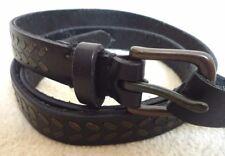RALPH LAUREN (POLO jeans) en cuir noir agrafé rivets ceinture taille s détail £ 50