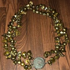 """16"""" Sterling Silver & Bronze Coin Pearl 2 Strand Necklace MSRP $395"""