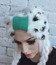 SNOW WHITE FAUX FUR HEAD BAND TURBAN EAR MUFF WARMER HAIRBAND