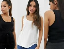 Womens 3 pack 100% Cotton Jersey Vest Undershirt Gym Tank Top White Black Navy