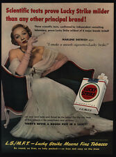 1950 MARLENE DIETRICH Smokes LUCKY STRIKE Cigarettes VINTAGE AD