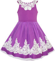 Flower Girls Dress Blueviolet Lace Pageant Wedding Party Age 7-14 Years Formal