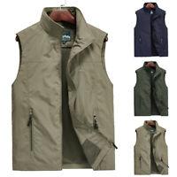 Mens Multi-Pocket Outdoor Vest Fishing Hiking Photography Waistcoat Jacket Coat