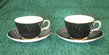 AYNSLEY 2 x CUPS & SAUCERS BLACK & WHITE SWIRL PATTERN WITH GOLD RIM