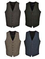 T1* Mens Wool Tweed Slim Fitted Vest Waistcoat Brown Green Navy S M L XL 2XL