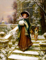 Hand painted Oil painting Kendrick Sydney - A Winter Rose girl & dog in scene