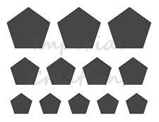 """PENTAGON"" Shape 3 Different Sizes 8.5"" x 11"" Stencil Plastic Sheet NEW S9"