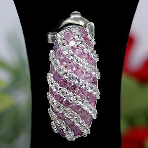 NATURAL HEATED PINK SAPPHIRE & WHITE UNHEATED TOPAZ PENDANT 925 STERLING SILVER