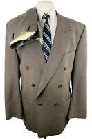 Fiori Mens 44L Brown Houndstooth Double Breasted 2 Piece Suit W/ Pants 36Wx31L