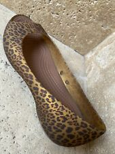 Womens Crocs Peep toe Leopard Print Slip On Sandals Ballet Flat Shoes SZ 8