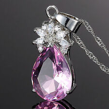 Sale! Fashion Jewelry Pear Cut Pink Sapphire Gp Amethyst Pendant Necklace Chain