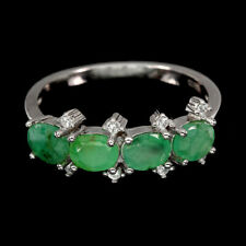 Unheated Oval Green Emerald 5x4mm Natural Cz 925 Sterling Silver Ring Size 6