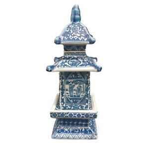 Chinese Blue and White Porcelain Layered Tower Vases Old Antique 8.4 inch