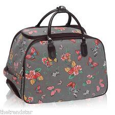 Ladies Travel Bags Holdall Hand Luggage Women's Weekend Handbag Wheeled Trolley Grey Butterfly S3