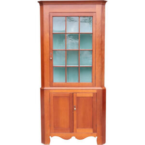 Antique  American Chippendale Cherry, Pine, Painted Corner Cabinet c. 1820