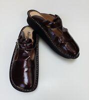 Alegria Womens Shoes Sandals Slides Patent Leather Brown Size US 9.5-10 EUR 40