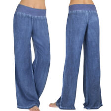 Women's Casual High Waist Elasticity Denim Wide Leg Palazzo Pants Jeans Trousers