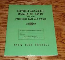 1953 Chevrolet Accessories Installation Manual Car & Truck 53 Chevy