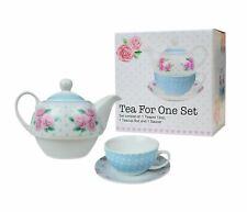 Tea For One Set Teapot Saucer Cup Tea Coffee Roses White Blue Dots Porcelain
