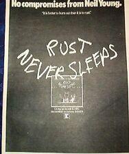 "NEIL YOUNG Rust Never Sleeps 1979 UK Poster size Press ADVERT 16x12"""