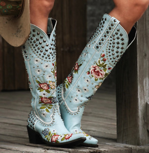 Women Studded Embroidery High Heel Knight Boots Runway Travel Cowboy Shoes Plus