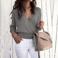 Women's V Neck Sweater Jumper Long Sleeve Ladies Sweatshirt Pullover Blouse Tops