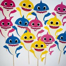 24 baby shark birthday party supplies- 24 Cupcake Toppers