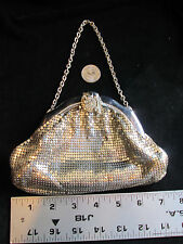 Vintage Whiting & Davis Silver Mesh Handbag Purse with Rhinestone Closure #2857