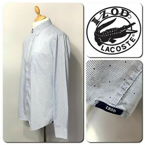 IZOD Lacoste Men's Long Sleeve Regular Fit Casual Shirt Size L
