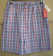 NWT IZOD Mens L 36 38 PEARL BLUE PLAID Woven Sleep Shorts Cotton Pajamas