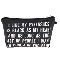 """I like my eyelashes""  Letter Printed  Cosmetic/make up bag  with mascara!"
