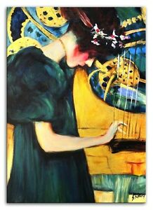 Gustav Klimt - Die Music - 90x60cm Oil Painting Hand Painted Canvas