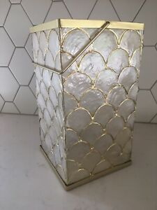 """Lilly Pulitzer for Pottery Barn Capiz Shell Lantern  Candle Holder Decor 13.5"""" T"""