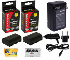 2x LP-E6 Battery + Rapid Travel Charger for Canon EOS 70D 7D Mark 5D II III DSLR