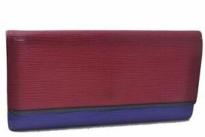 Authentic Louis Vuitton Epi Portefeuille Flore Wallet Red Purple M60455 LV D6161