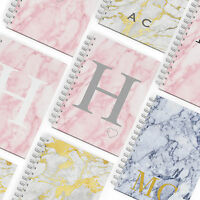 PERSONALISED HARDBACK NOTEBOOK A5 NOTEPAD PADS BOOKS INITIALS CUSTOMISED MARBLE