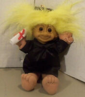 Russ Troll Plush Graduation Cap & Gown Doll with Yellow Hair 8 1/4""