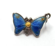 Rare Vintage Charm Small Guilloche Enamel Butterfly 925 Sterling Silver 1.1g