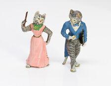 Antique Austrian Enamel Bronze Miniature Cats