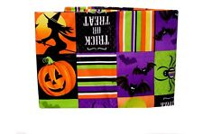 Orange Purple Pumpkin Bat Web Halloween Vinyl Tablecloth Table Cloth 52 X 70 NEW