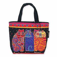 Laurel Burch Feline Cat Red Black Bright Small Square Zipper Tote Canvas Bag NWT