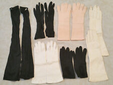 6 Pair Vintage Small/Med Women's Gloves & Sleeve. Leather, Cotton, Rayon, Wool.