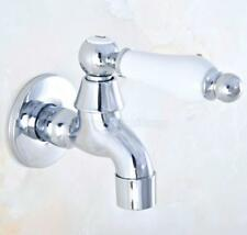 Chrome Single Cold Water Tap Wall Mount Mop Pool Faucet Laundry Tray Sink Faucet