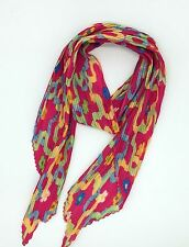 Fuchsia Abstract Finely Print Pleated Scarf New